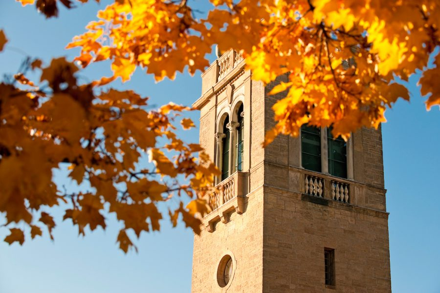 Picture of Carillon Tower in the fall framed with golden leaves