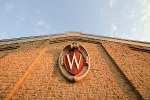 """""""W"""" sign on the building"""