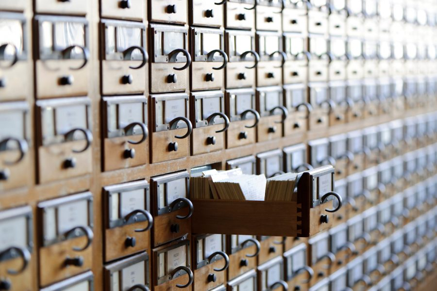 Picture of rows of card catalogue drawers