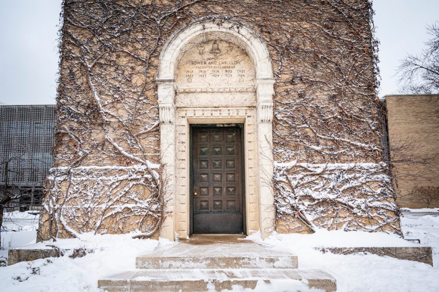 Snow covers the Carillon Tower door