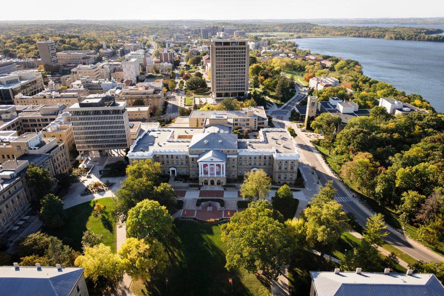 Aerial image of Bascom Hall and UW campus.